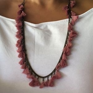 Earthy Pink Tassel Fringe Necklace